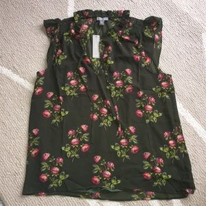 NWT Size M J.Crew Floral Pink and Green Blouse